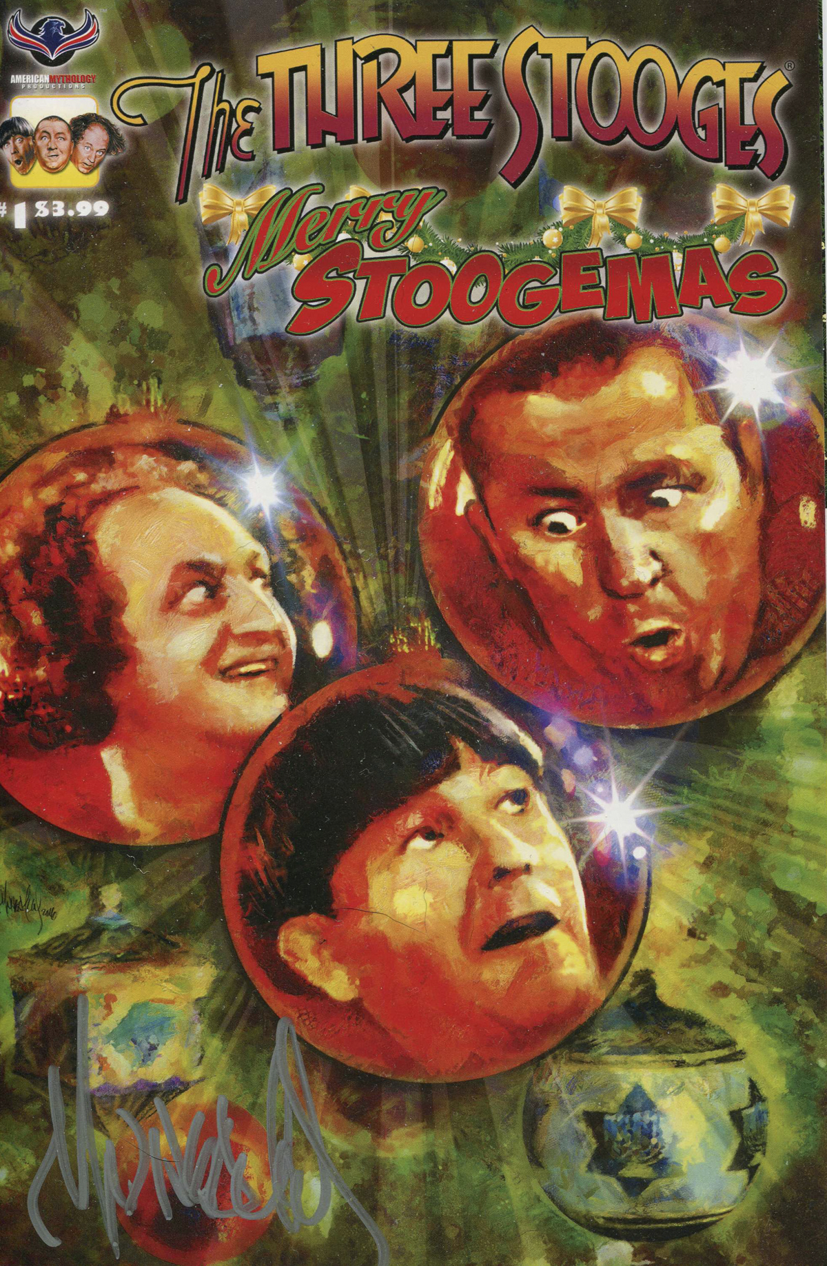 THREE STOOGES MERRY STOOGEMAS SIGNED WHEATLEY CVR