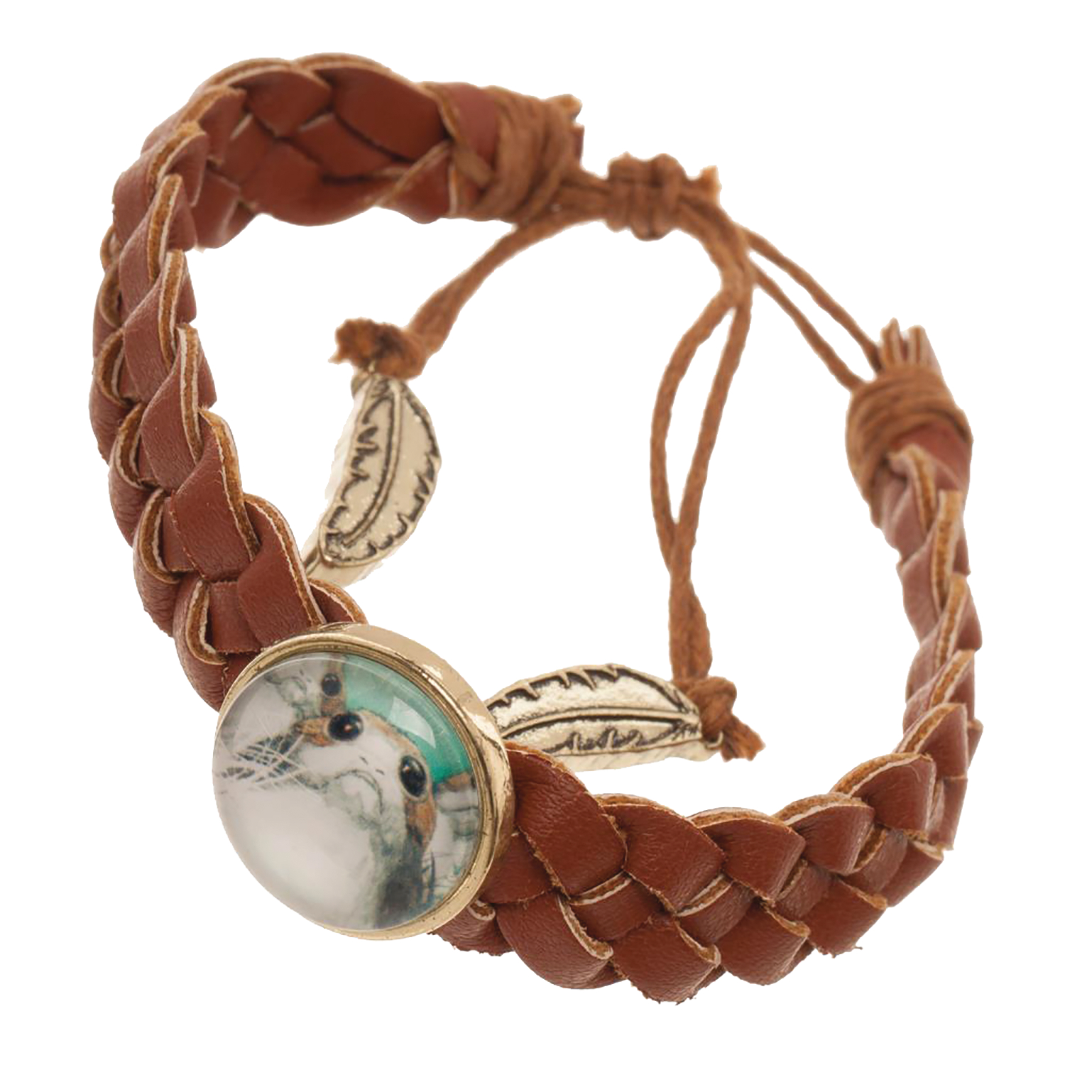 SW E8 PORG PRINT UNDER GLASS BRAIDED BRACELET