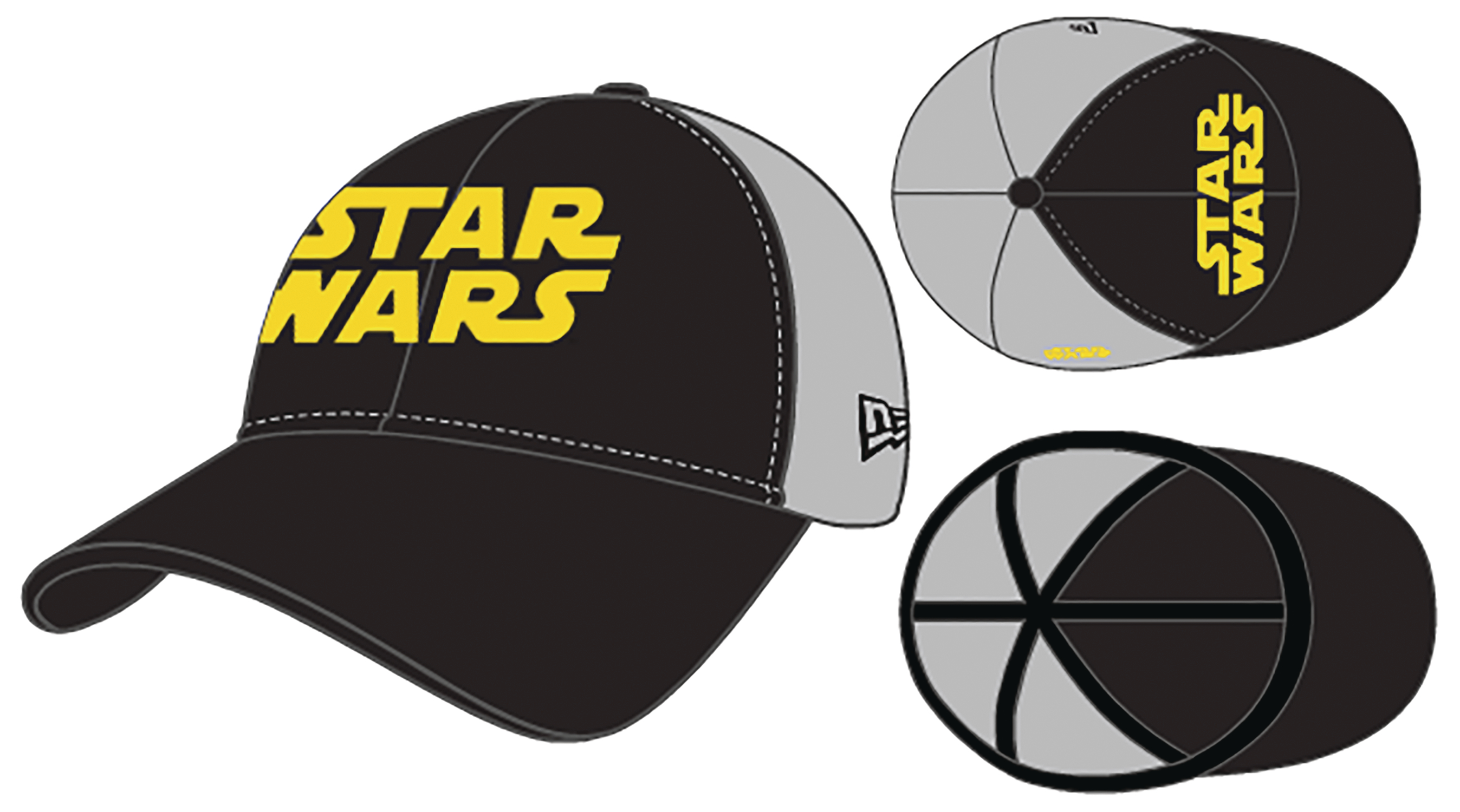 STAR WARS PX BLACK & GRAY 2 TONE 3930 FLEX FIT CAP