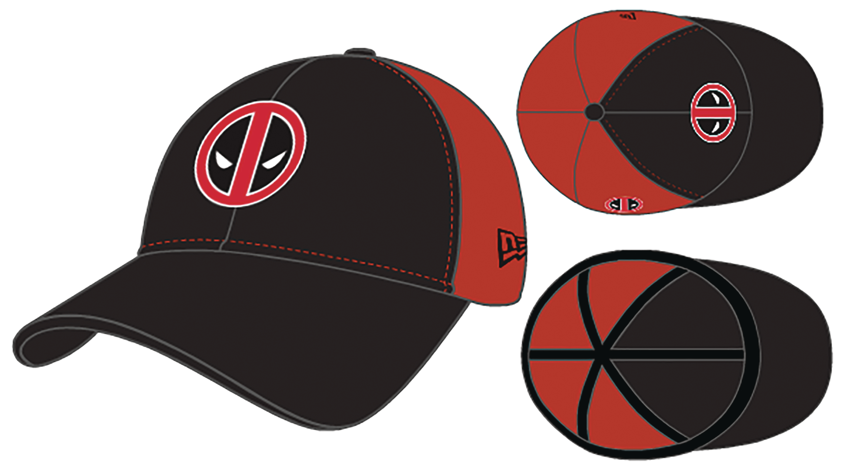 DEADPOOL PX BLACK & RED 2 TONE 3930 FLEX FIT CAP