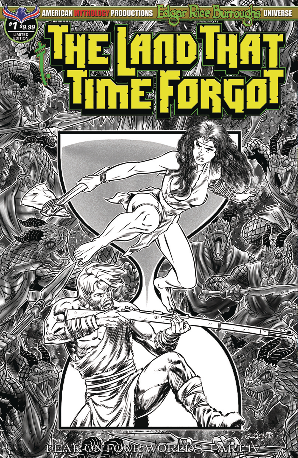 LAND THAT TIME FORGOT #1 FEAR ON FOUR WORLDS B&W LTD ED CVR