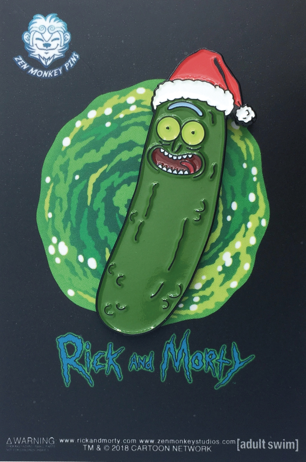 RICK AND MORTY SANTA HAT PICKLE RICK PIN