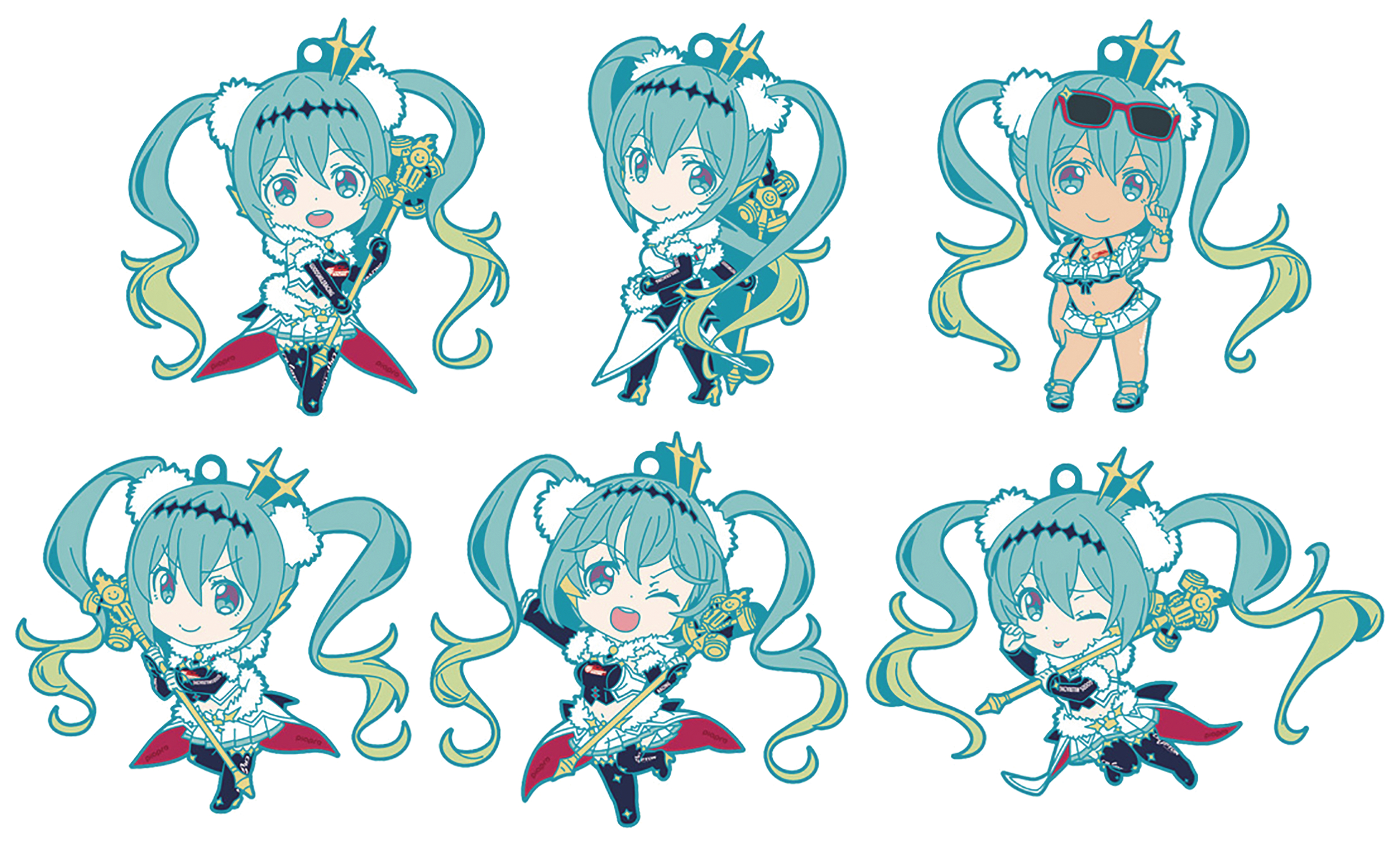 RACING MIKU 2018 NENDOROID PLUS RUBBER KEYCHAIN 6PC BMB DS (