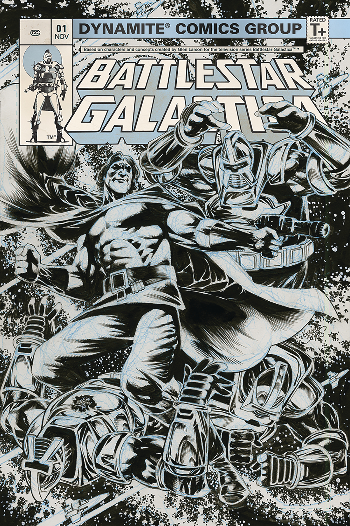 BATTLESTAR GALACTICA CLASSIC #1 25 COPY JONES B&W INCV