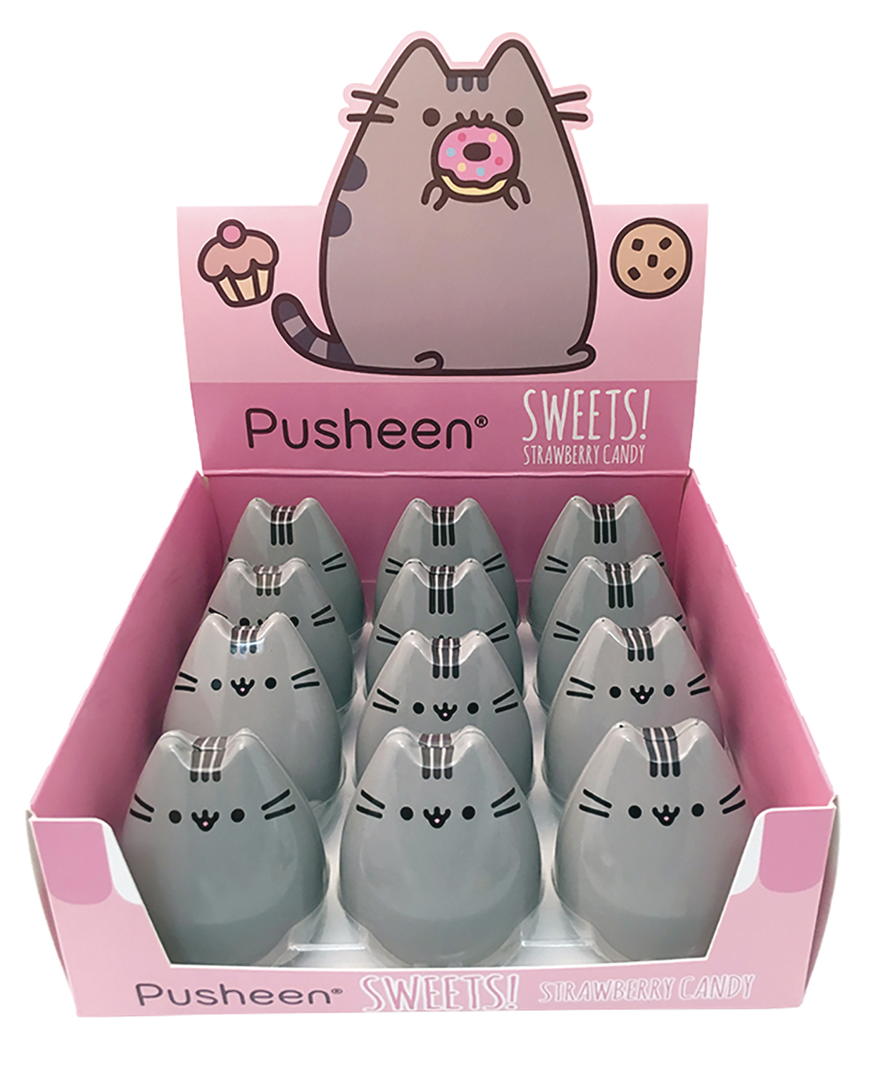 PUSHEEN STRAWBERRY CANDY TIN 12CT DIS