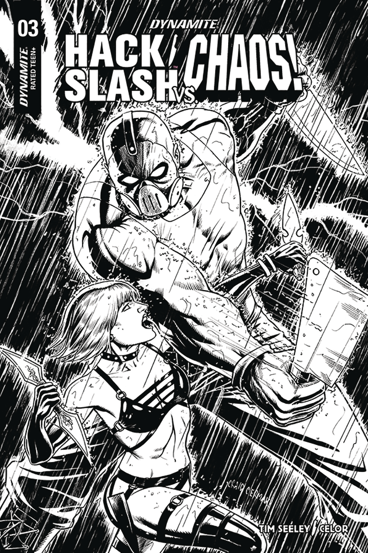 HACK SLASH VS CHAOS #3 10 COPY CERMAK B&W INCV