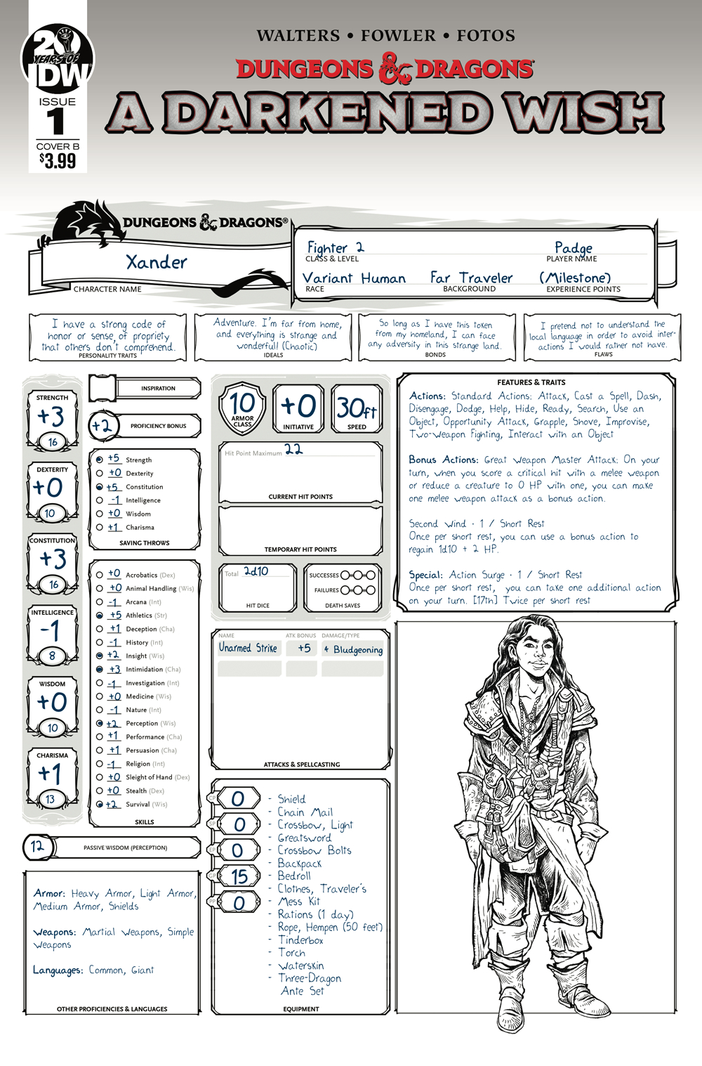 DUNGEONS & DRAGONS A DARKENED WISH #1 CVR B CHARACTER SHEET