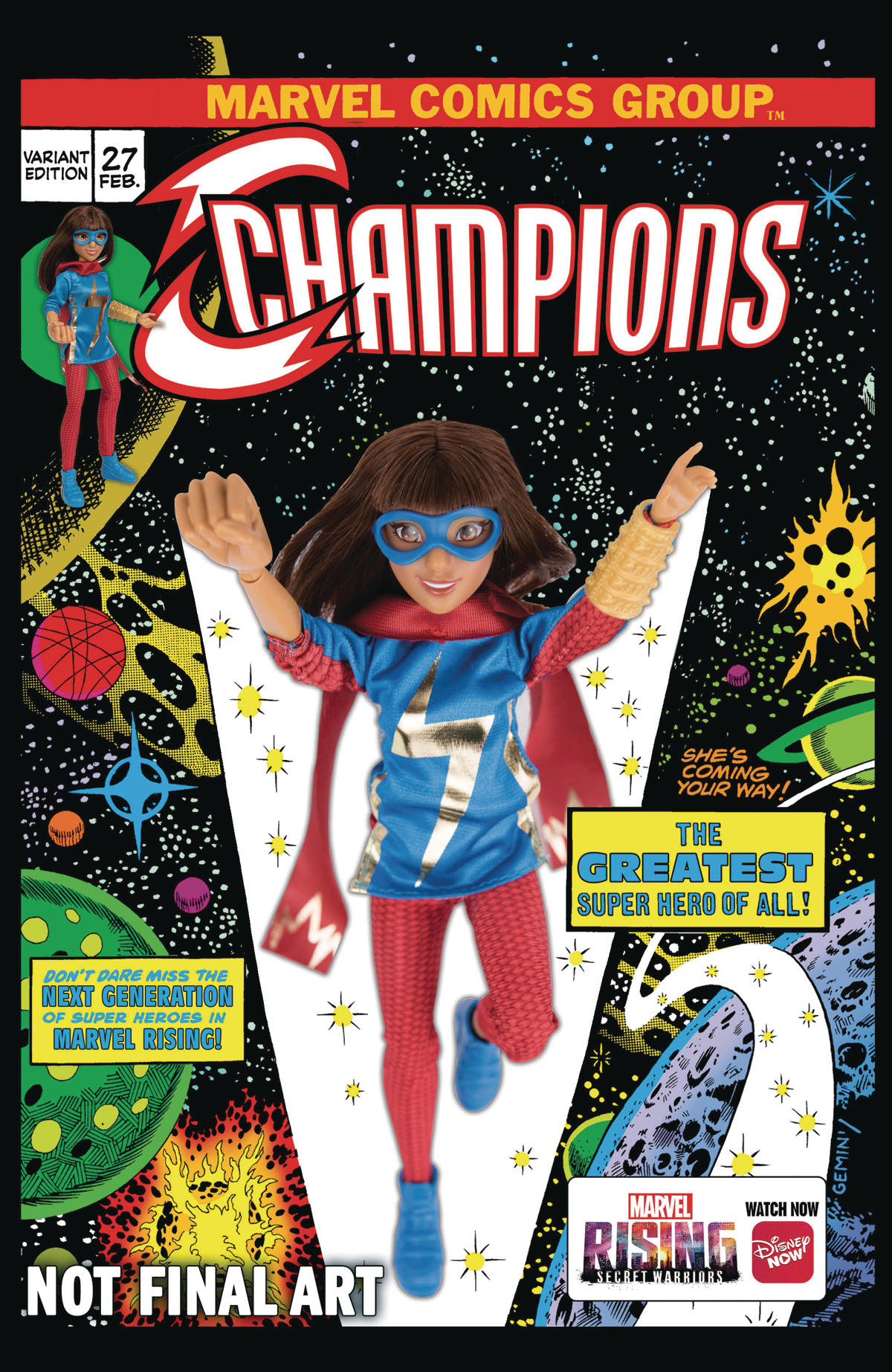 CHAMPIONS #27 MARVEL RISING ACTION DOLL HOMAGE VAR