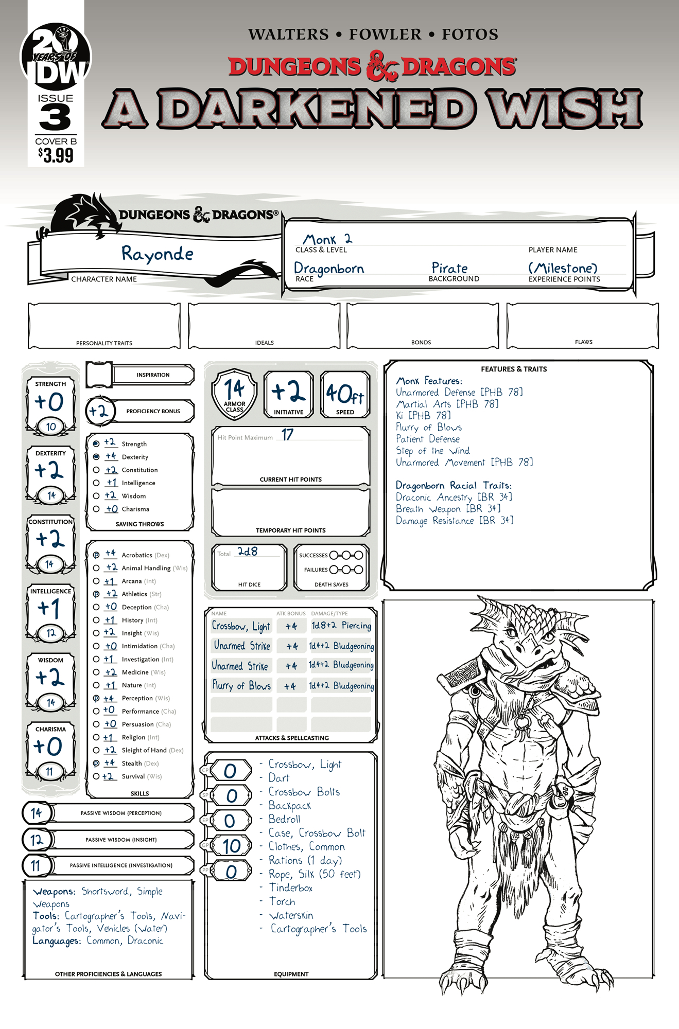 DUNGEONS & DRAGONS A DARKENED WISH #3 CVR B CHARACTER SHEET