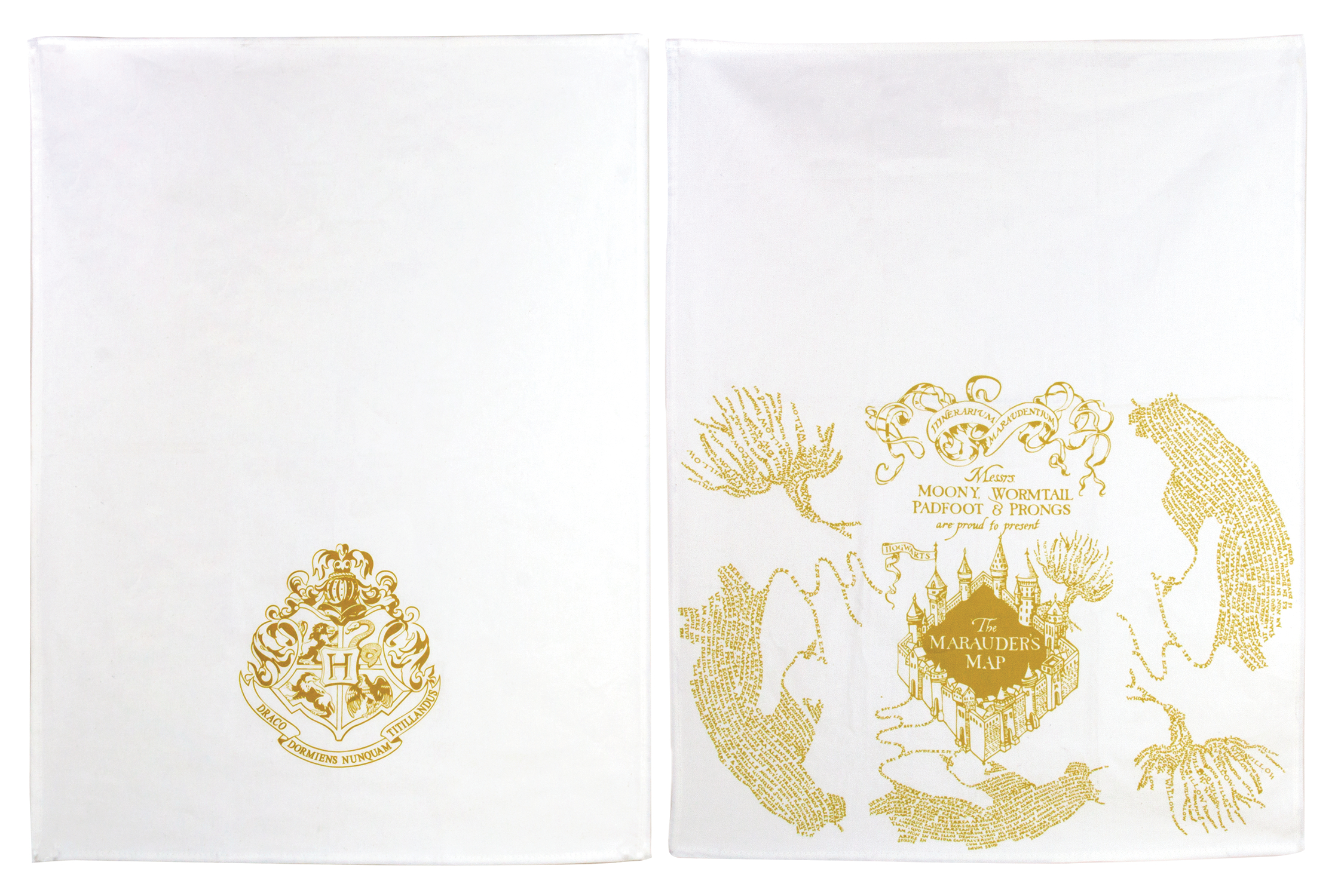 HARRY POTTER GOLD MARAUDERS MAP KITCHEN TOWELS 2PK