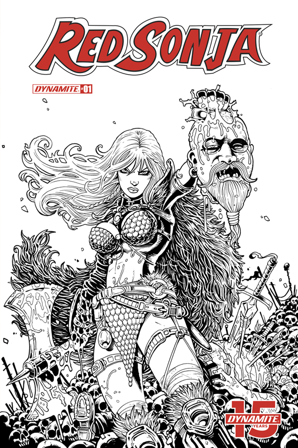 RED SONJA #1 25 COPY B&W HAESER FOC INCV