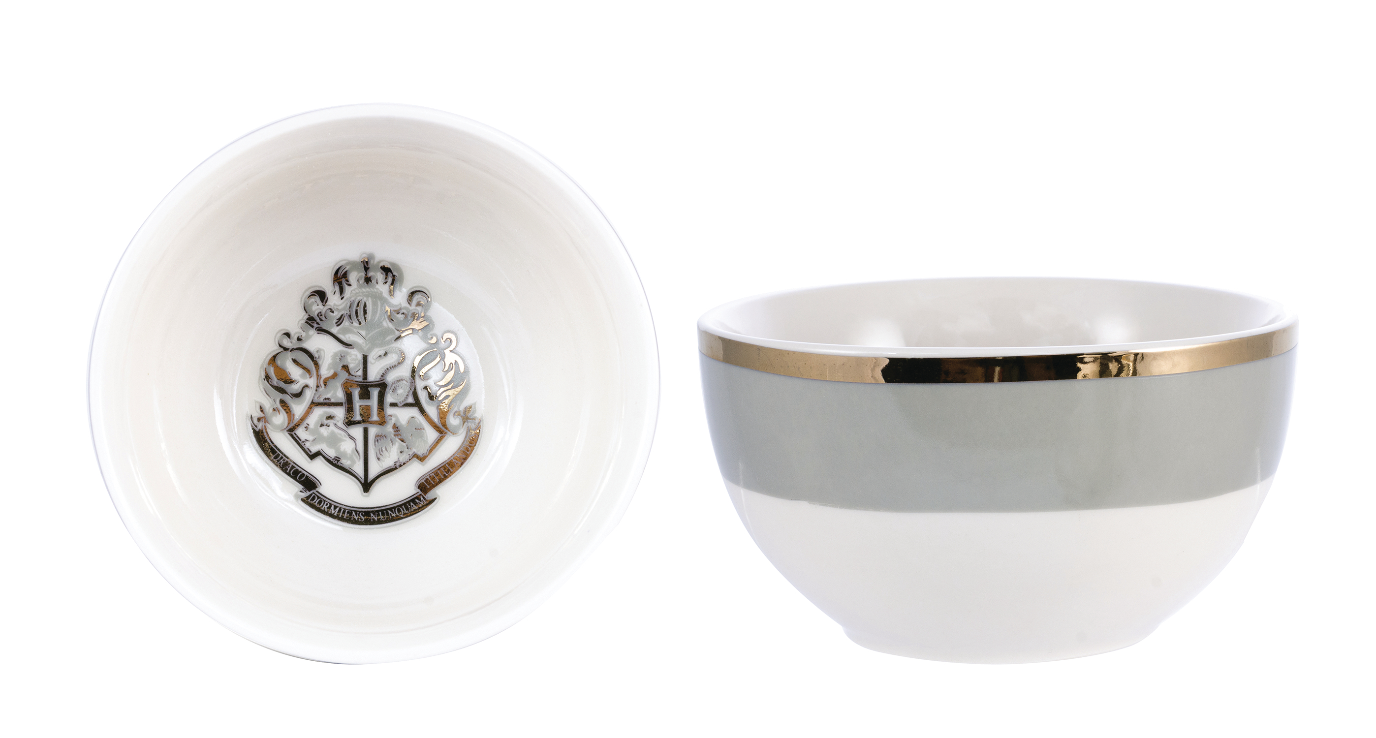 HP HOGWARTS GREY & GOLD 4PC CERAMIC BOWL SET (DEC189142)
