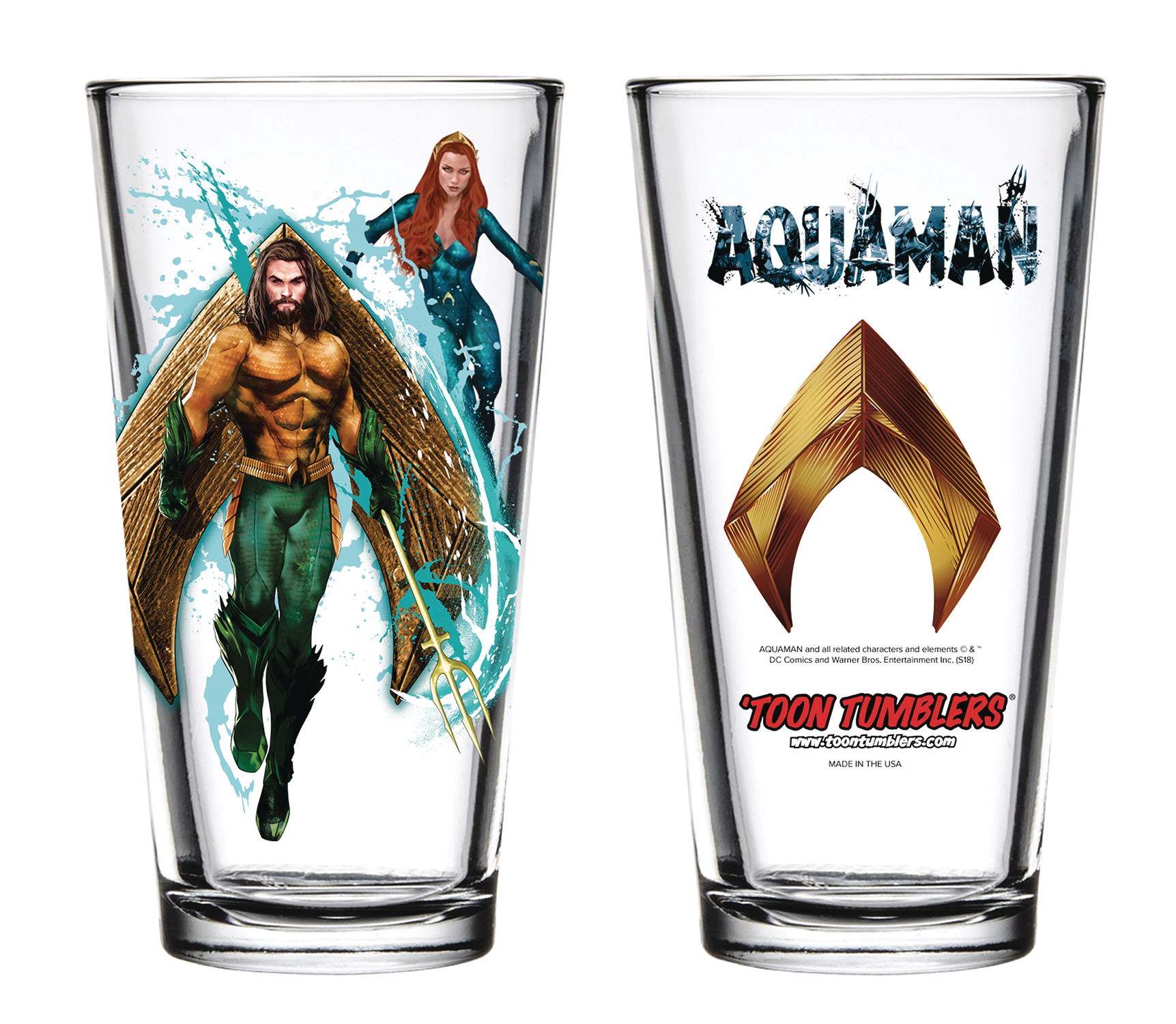 TOON TUMBLERS AQUAMAN MOVIE PINT GLASS