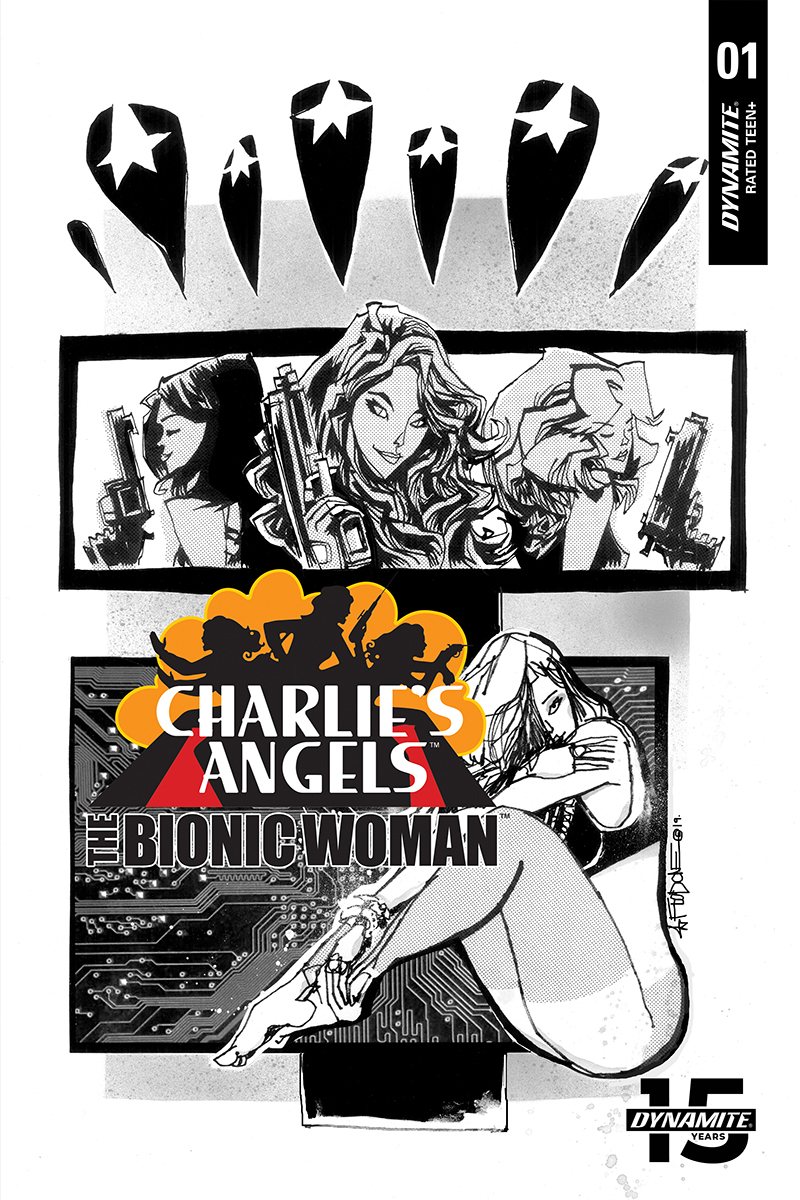 CHARLIES ANGELS VS BIONIC WOMAN #1 10 COPY MAHFOOD B&W INCV