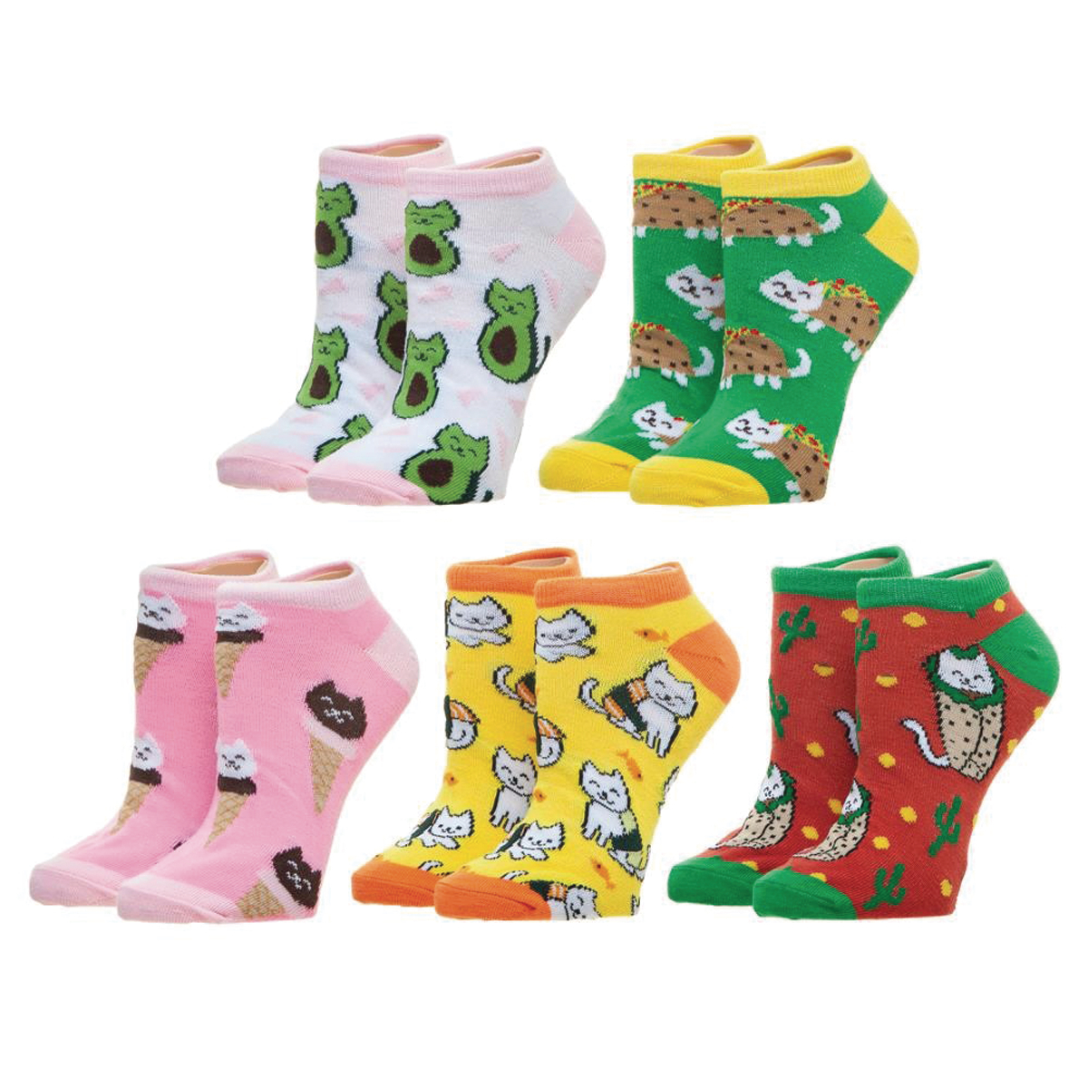 CAT FOOD 5PK ANKLE SOCKS