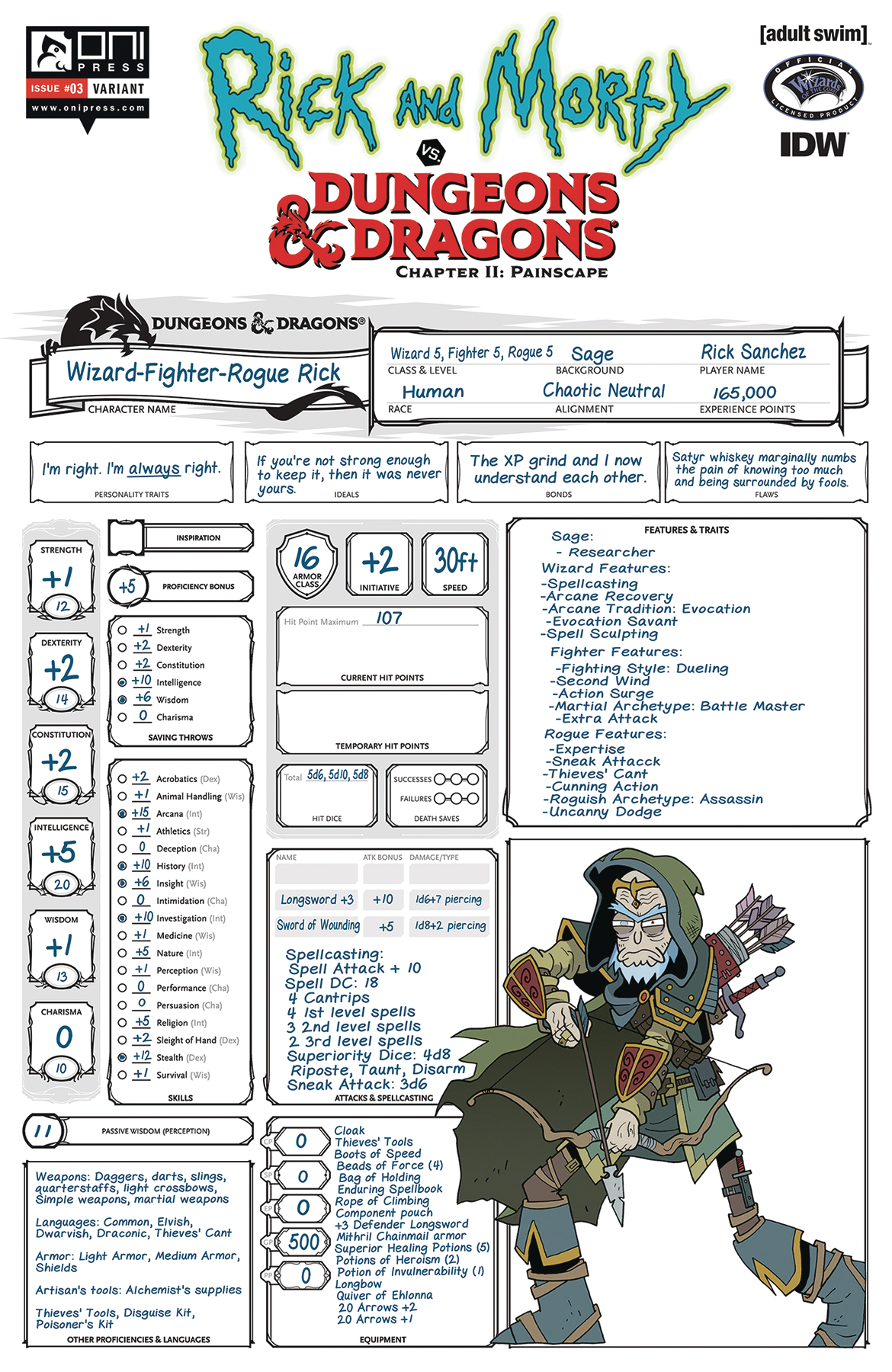 RICK & MORTY VS D&D II PAINSCAPE #3 CVR C CHARACTER SHEET (M