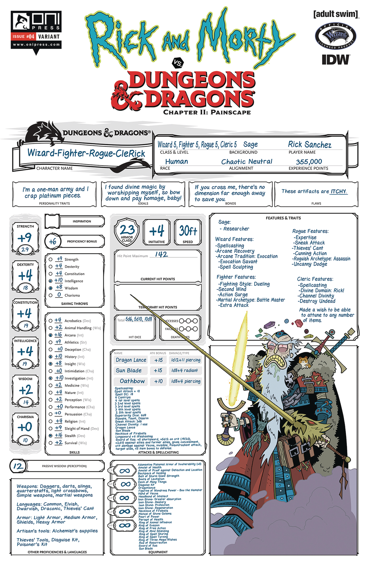 RICK & MORTY VS D&D II PAINSCAPE #4 CVR C CHAR SHEET