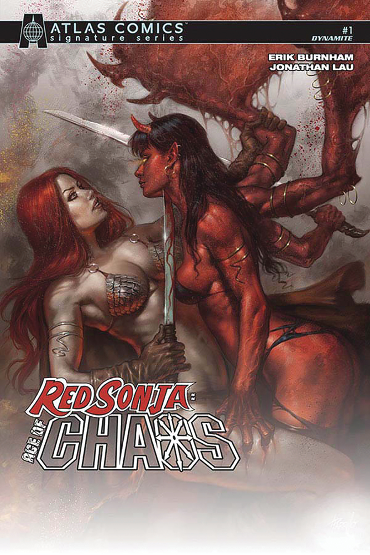 RED SONJA AGE OF CHAOS #1 BURNHAM SGN ATLAS ED