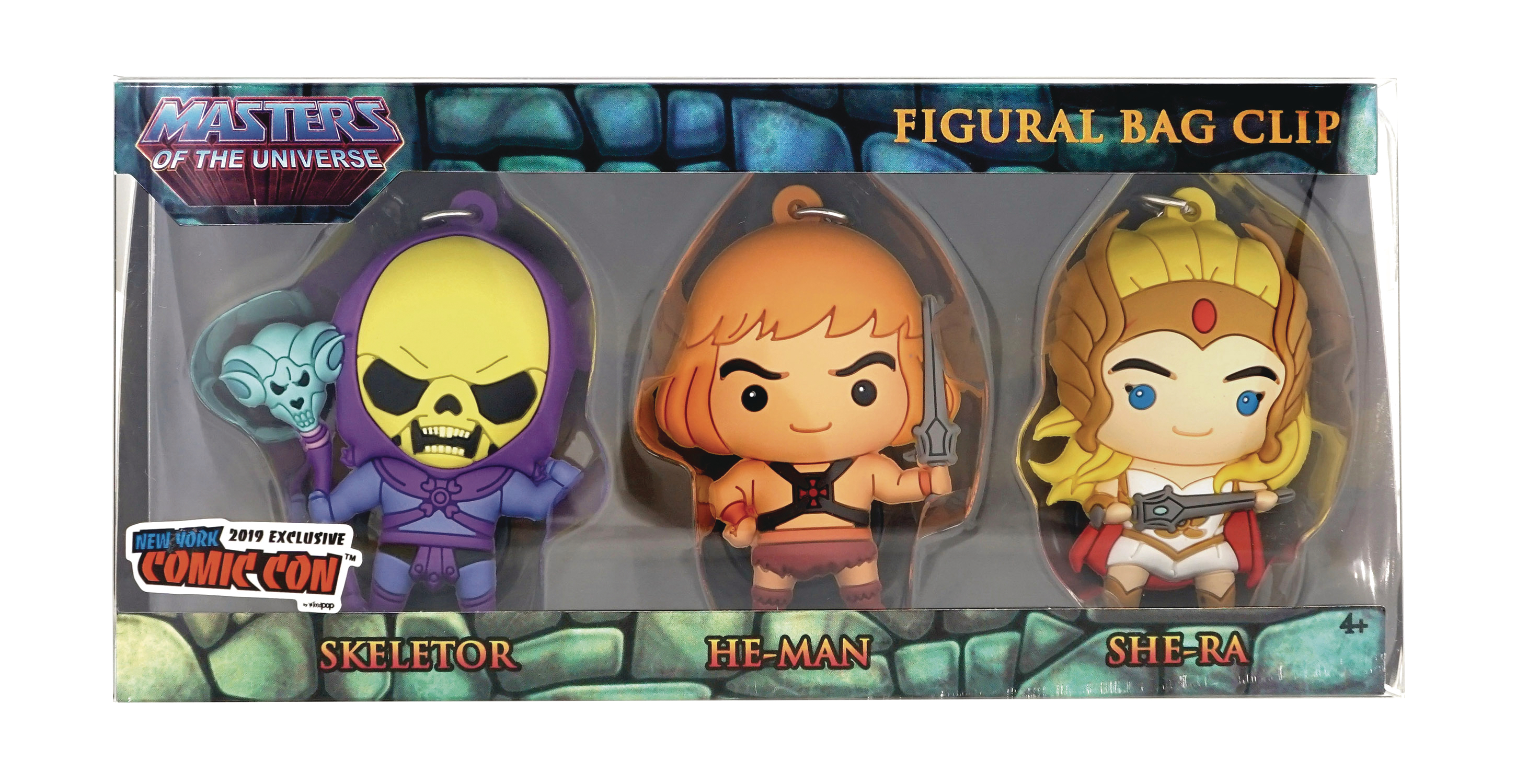 MASTERS OF THE UNIVERSE CON EXCLUSIVE BAG CLIP 3PC SET