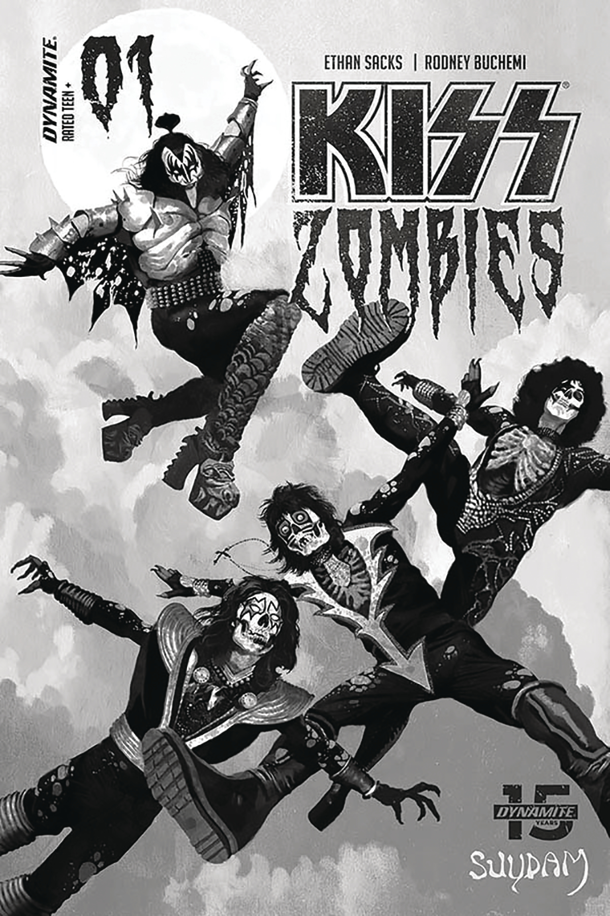 KISS ZOMBIES #1 SUYDAM LTD GRAYSCALE CVR