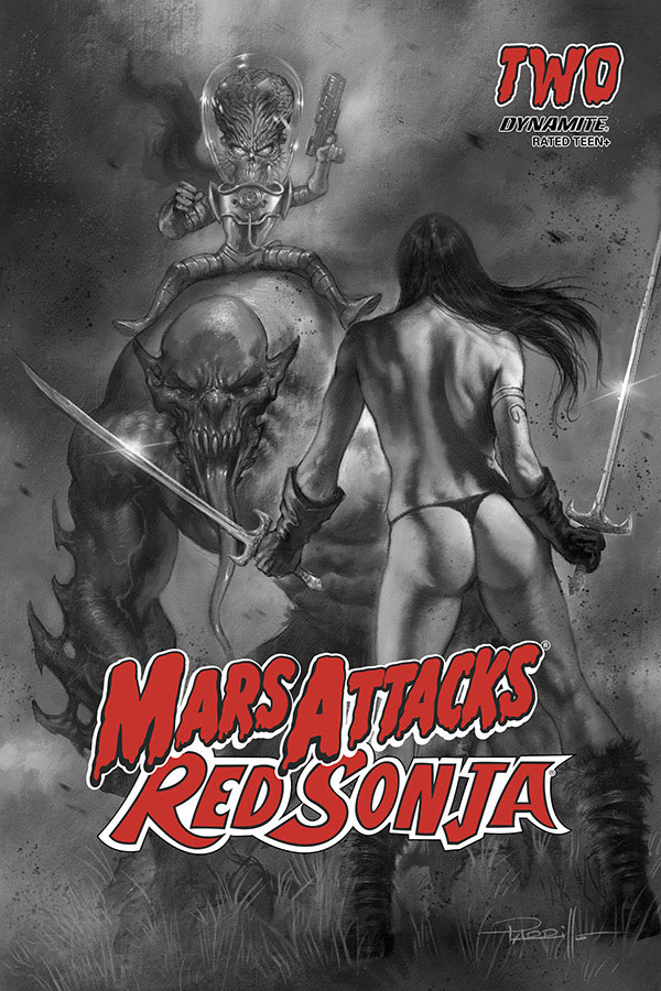 MARS ATTACKS RED SONJA #2 10 COPY PARRILLO B&W INCV