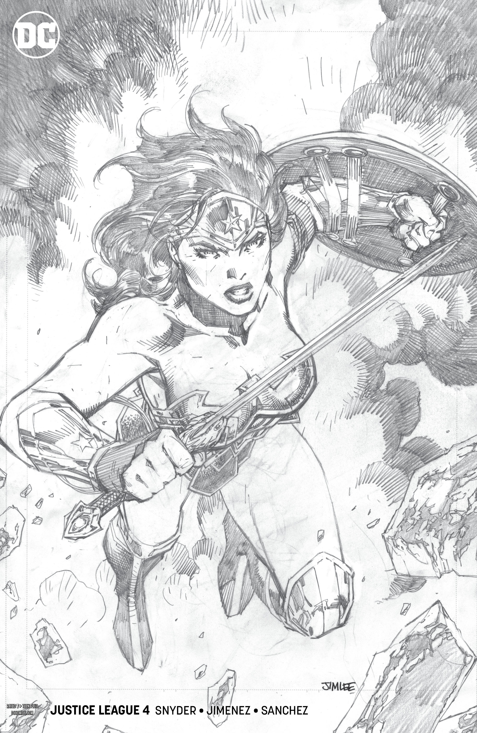 JUSTICE LEAGUE #4 JIM LEE PENCIL VAR ED