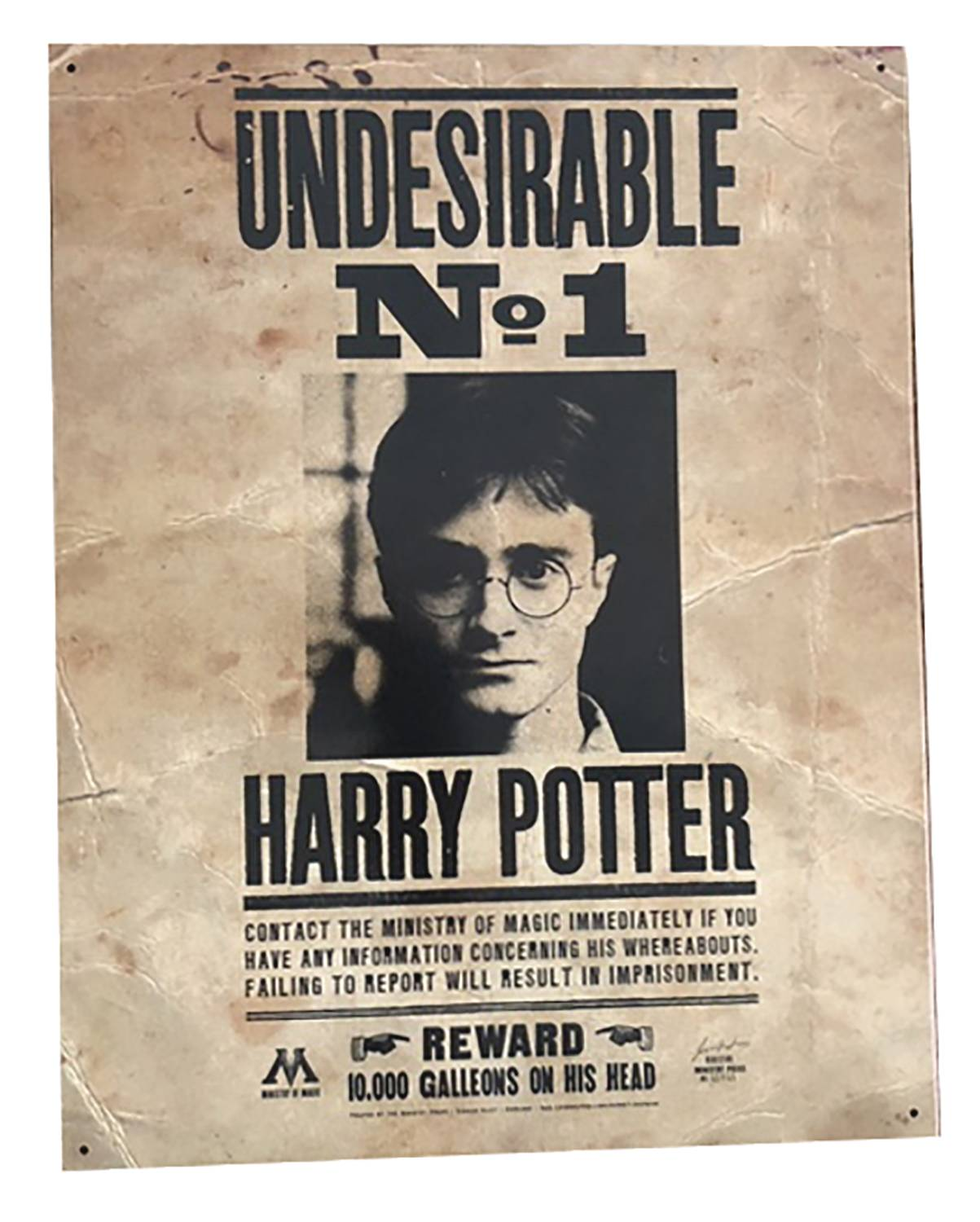 HARRY POTTER NUMBER ONE UNDESIRABLE 12X16 TIN SIGN