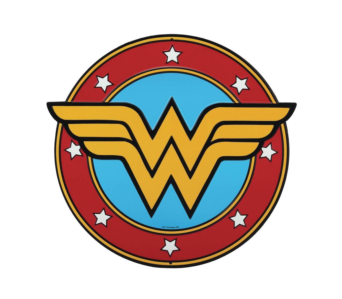 DC WONDER WOMAN LOGO DIE CUT TIN SIGN