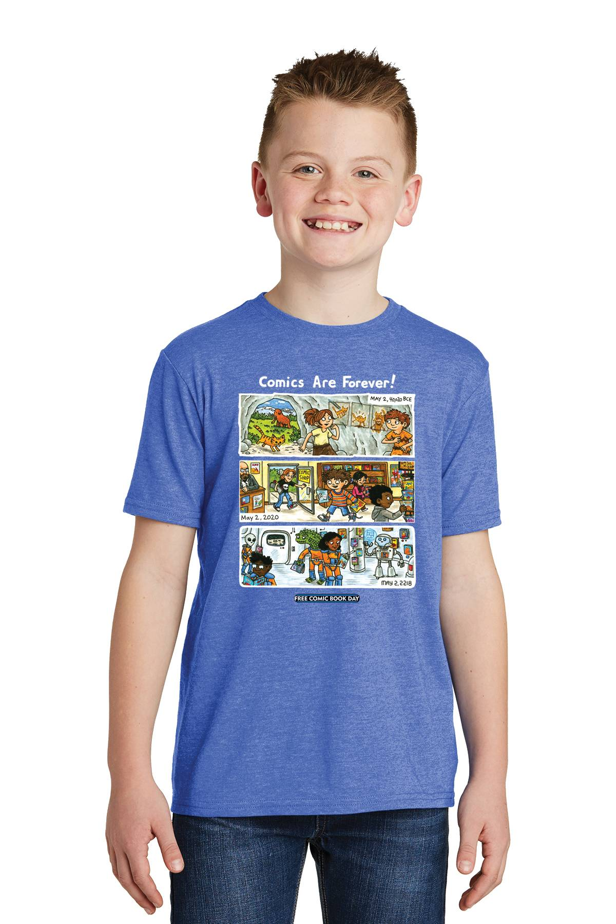 FCBD 2020 COMM ARTIST BROWN BLUE YOUTH T/S MED