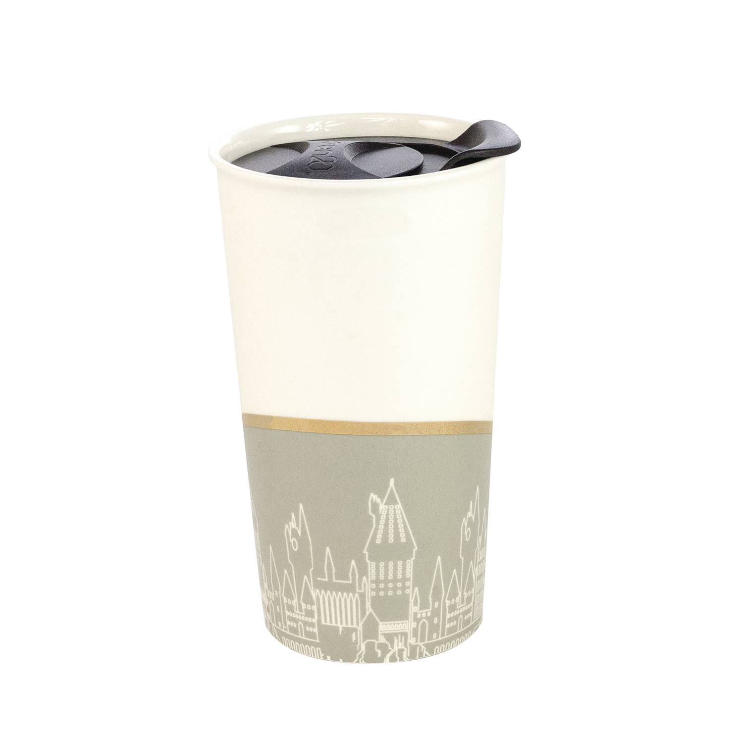 HARRY POTTER HOGWARTS GRAY & WHITE CERAMIC TUMBLER