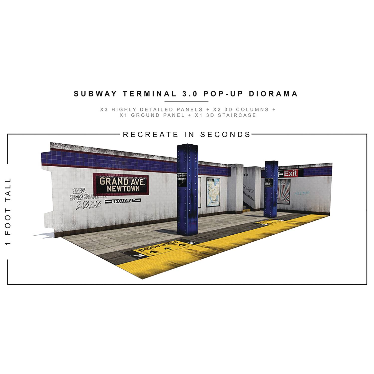 EXTREME SETS SUBWAY TERMINAL 3 POP UP 1/12 SCALE DIORAMA (NE
