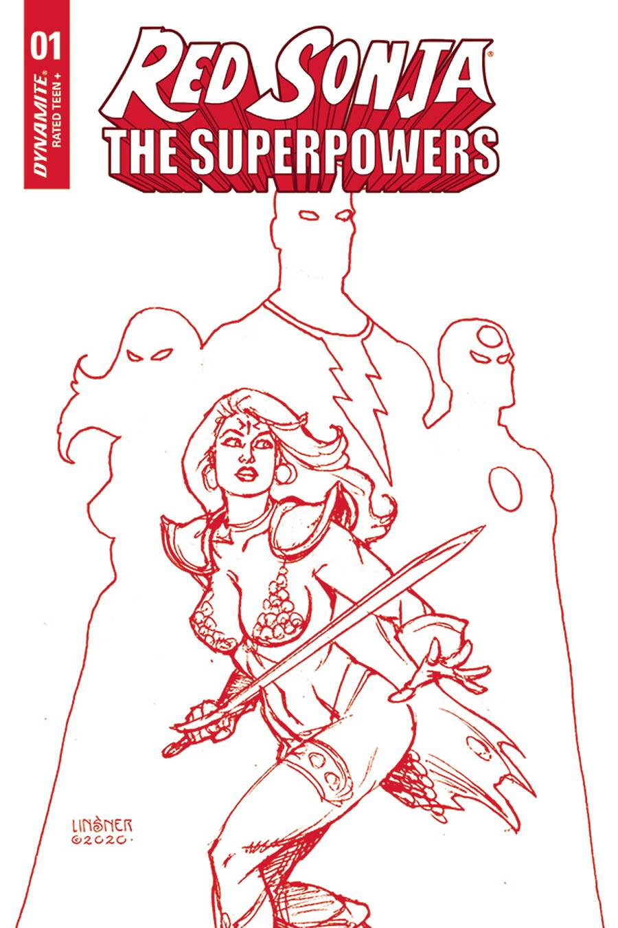 RED SONJA THE SUPERPOWERS #1 LINSNER CRIMSON RED ART CVR