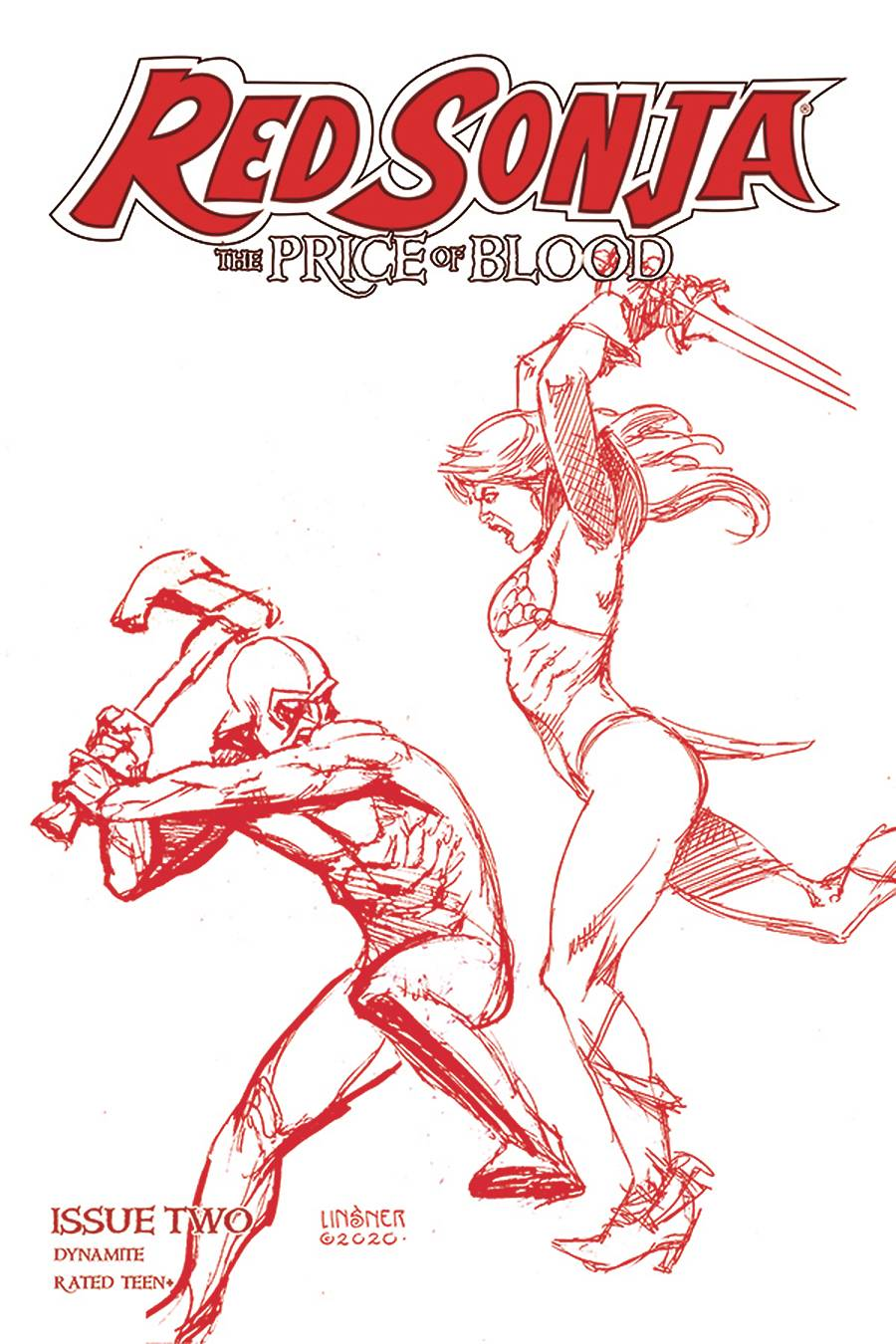 RED SONJA PRICE OF BLOOD #2 LINSNER CRIMSON RED LINE ART CVR