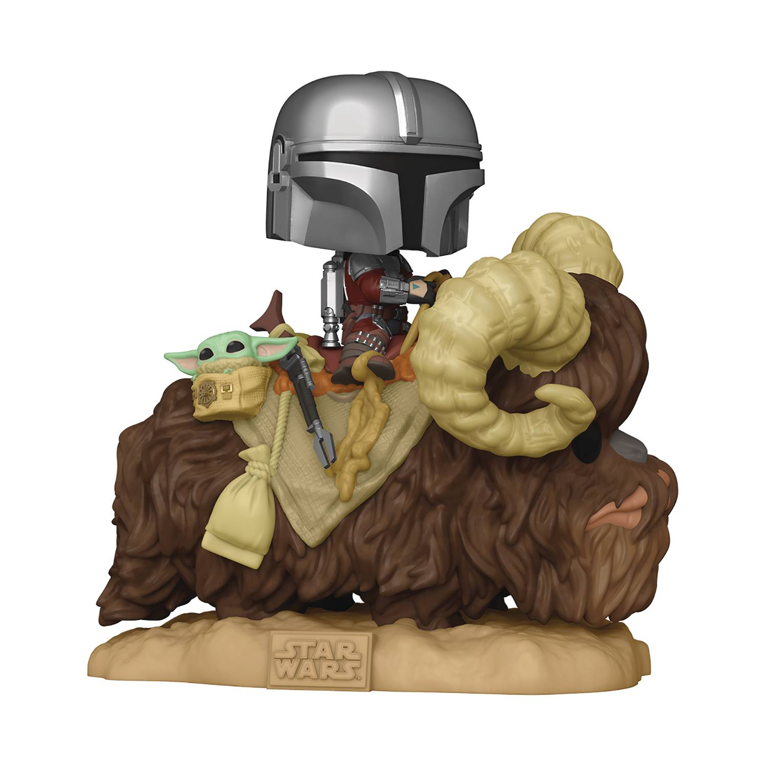 POP DELUXE MANDALORIAN ON BANTHA W/ CHILD VIN FIG