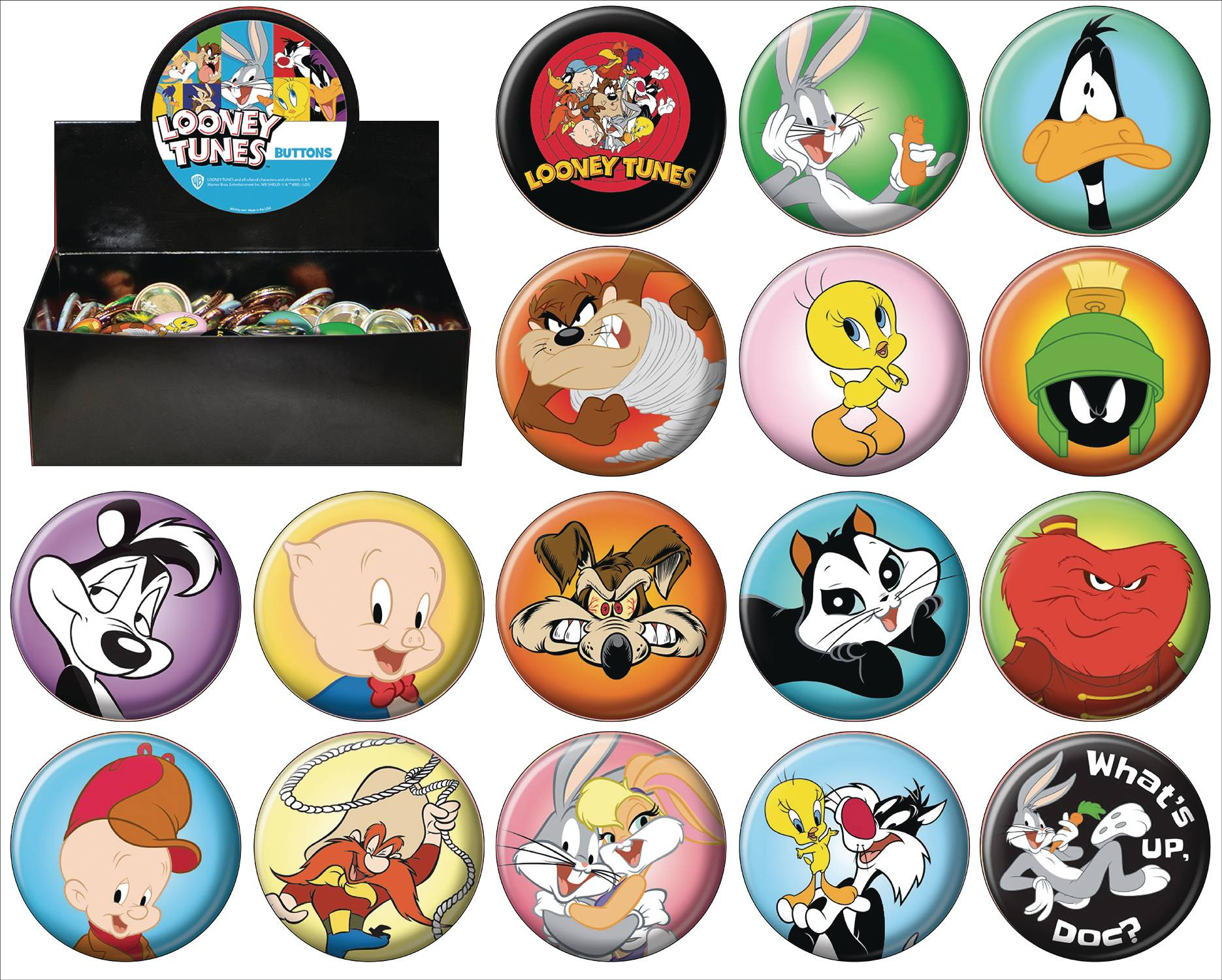 LOONEY TUNES 144PC BUTTON ASST DIS