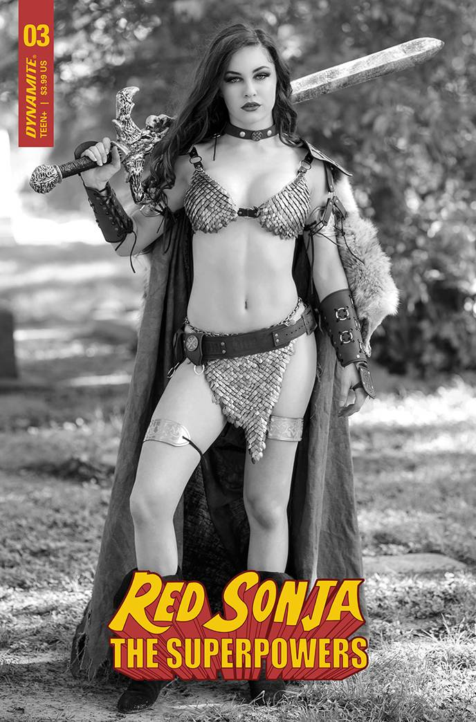 RED SONJA THE SUPERPOWERS #3 COSPLAY B&W PREMIUM FOC BONUS V