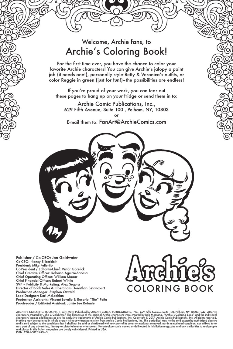 Pick Up Your Copy Of The Archies Coloring Book 1 DEC161275 From Archie Comics On May 31st At Local Comic Shop