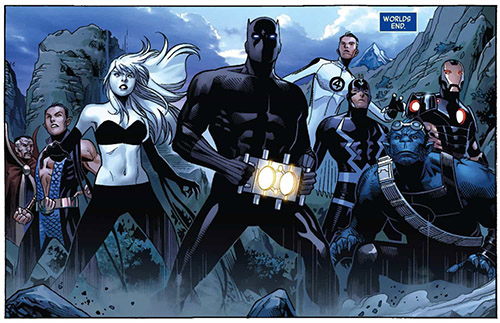 Panther leads the Avengers. Art by Jim Cheung. Words by Jonathan Hickman.