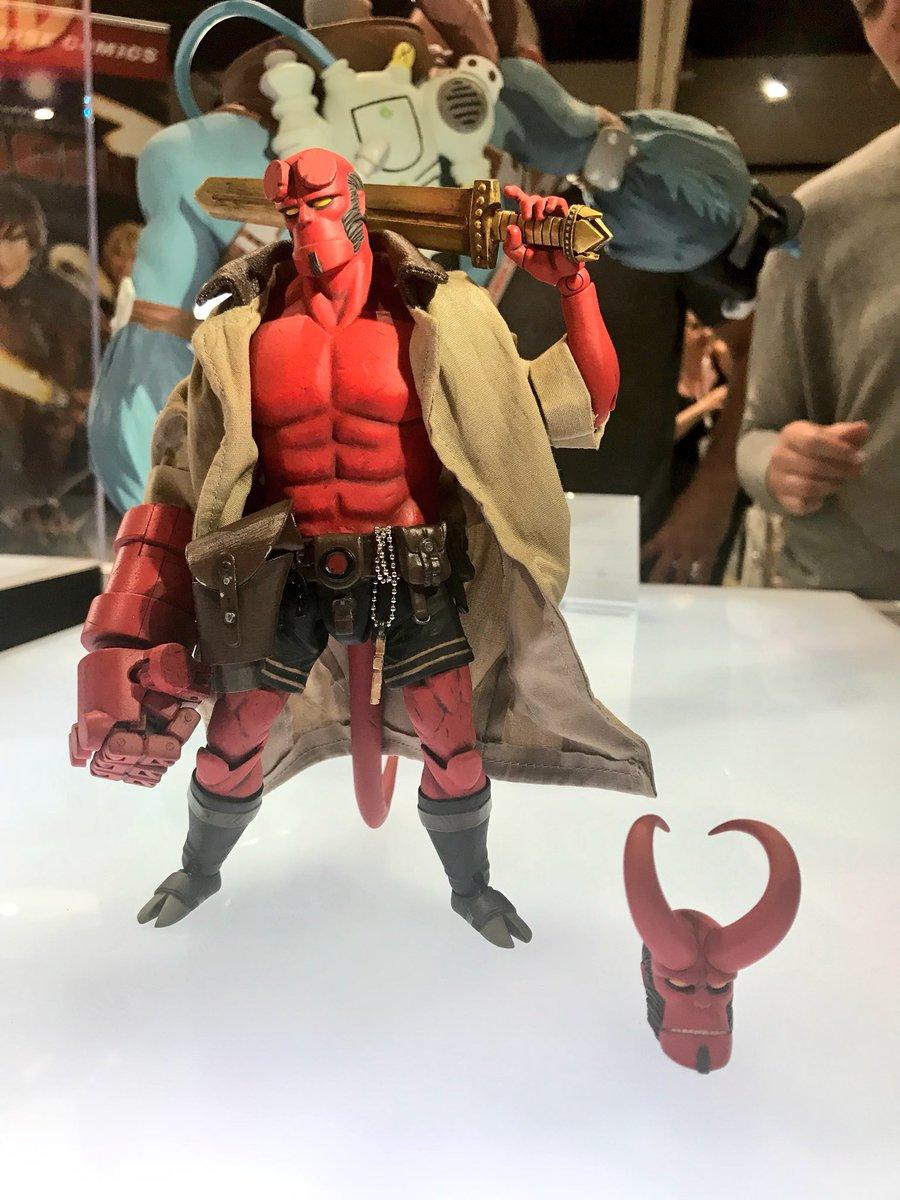 dark horse displays hellboy action figure at sdcc